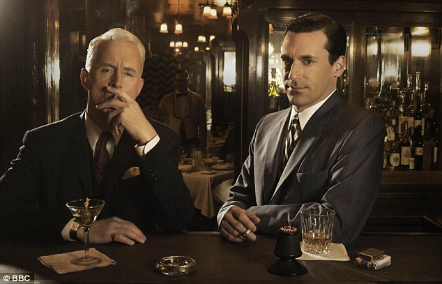 CLASSY: Characters Roger Sterling and Don Draper in a bar scene