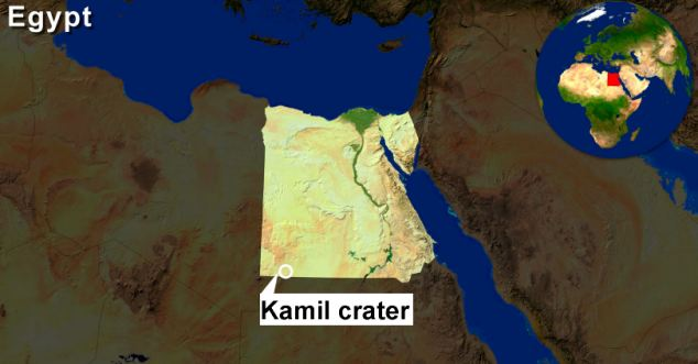 The crater was discovered deep within the Egyptian desert