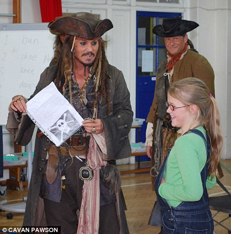 Johnny Depp visits school as Captain Jack via the Daily Mail