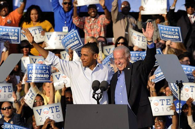 Team: Mr Obama was joined by Vice President Joe Biden at the rally today