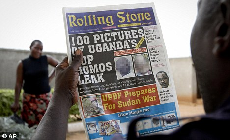 A Ugandan newspaper today published photos, names and home addresses of gay Ugandans - for the second time. Last month's front page is pictured