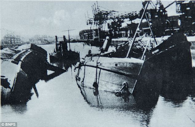 Sunk shipping in Calais during world war II