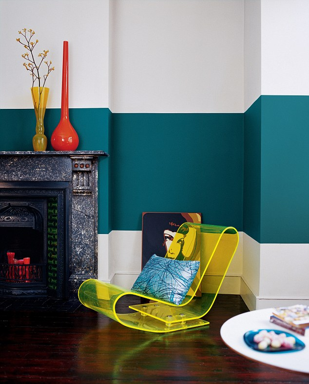 Teal feature wall (Dulux) with yellow accents and wood floor