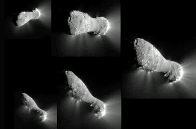 The five original images from the flyby show Hartley in incredible close-up as the spacecraft flew past