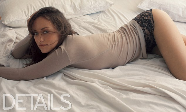 Strike a pose: Olivia Wilde shows off her trim figure in skin-tight top and lace briefs in a new photo shoot for the latest issue of Details magazine