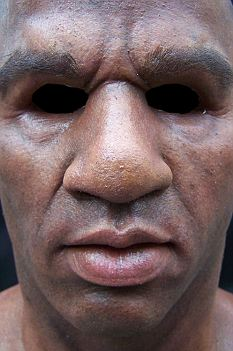 The silicone mask, purchased from a California costume company, behaves like real flesh and muscle
