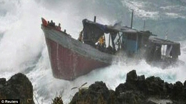 Desperate flight: The boat had travelled from Indonesia with around 80 people on board. 50 are feared dead