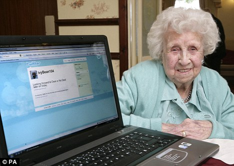 Record holder: Ivy Bean, 104, who became friends with Peter Andre online, was the oldest Facebook user in the world until she died in July this year