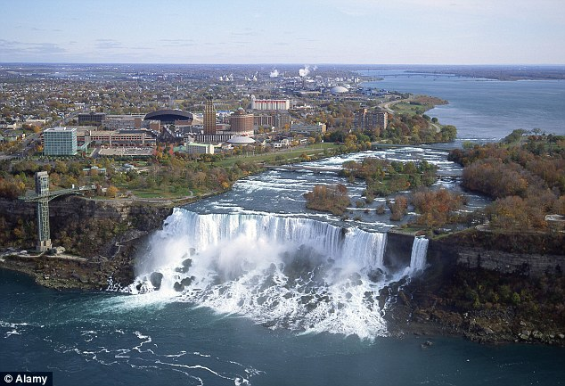 Thunderous: The American Falls as they normally appear, with millions of gallons of water hurtling over the edge every minute