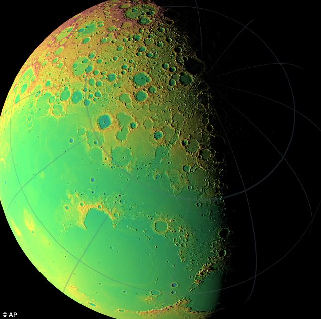 A topographic map of the moon's northern hemisphere.The false colors indicate elevation: red areas are highest and blue lowest