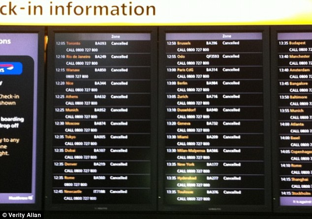 Departure boards at Heathrow airport today