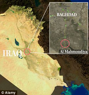 Scene of the attack in Al Mahmoudiya on the outsikirts of Baghdad