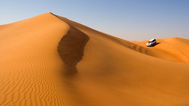 Dry as dust: The sand dunes of the United Arab Emirates, which sees no rain at all for months. Now a secret project has brought storms to Abu Dhabi