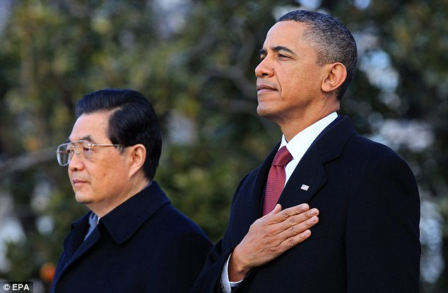 Tightrope: Obama angled for Chinese investment in the U.S. when he met with Chinese President Hu Jintao in 2011