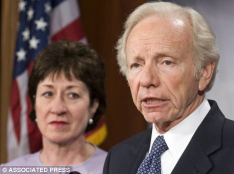 Presidential powers: Senate Homeland Security and Governmental Affairs Committee Chairman Joseph Lieberman and Senator Susan Collins. Both are in favour of a 'kill switch' bill