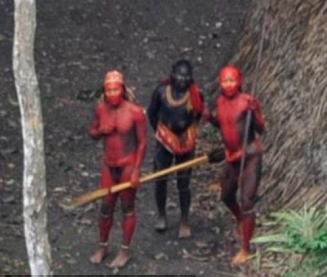 Female Members Of The Uncontacted Tribe In The Depths Of The Amazon Jungle