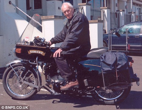 Good runner: Stuart Jenkinson, 83, is finally hanging up his leathers and selling his beloved Vincent Black Prince after 56 years and more than 700,000 miles
