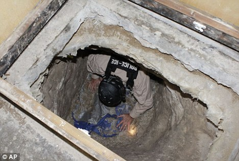 Terror risk? U.S. officials discovered a 2,200ft cross-border drugs tunnel in San Diego last year, raising fears al Qaeda could use a similar method