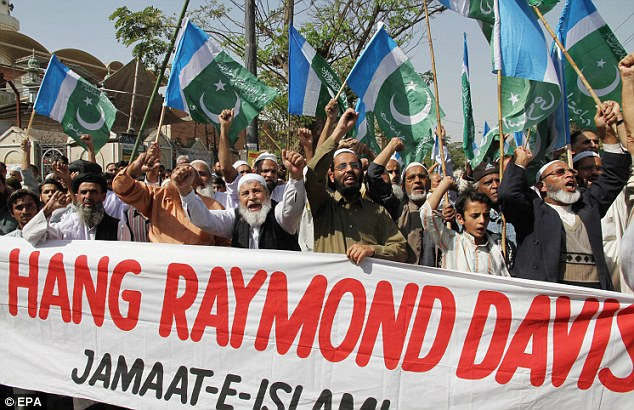 Diplomatic row: Supporters of Pakistani Islamic political party Jamaat e Islami shout slogans during a protest over the weekend against the alleged killing of two Pakistanis by by Davis