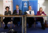 Probe: Detective Inspector Simon Snell (second left), who is leading the investigation, speaks during a press conference today outlining the alleged abuse on school children that has been uncovered in Devon