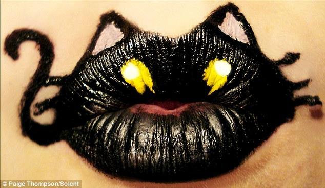 A black cat on Paige's lips