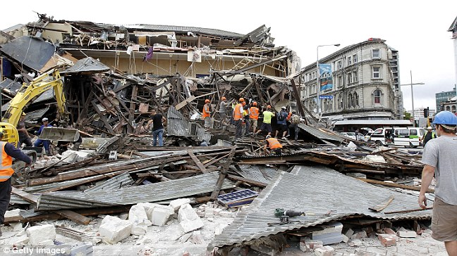 Devastation: Police said 'multiple fatalities' were expected and many people were trapped under the rubble after buildings and homes collapsed in Christchurch city center