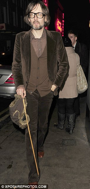 Walking stick gang: Rocker Jarvis Cocker managed to pull off his look with the walking stick