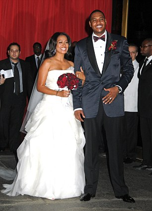 The happy couple: La La Vazquez and Carmelo Anthony at their wedding, held in July in New York's Cipriani