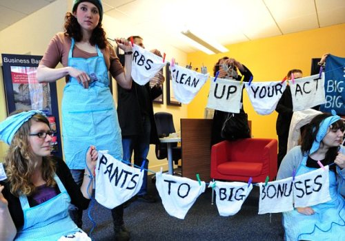 Meanwhile in Islington 50 activists set up a laundry in an RBS branch in reaction to alleged council moves to cut services to the elderly, including a much-needed laundry service