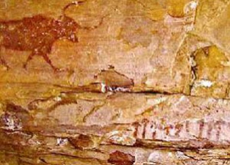 Intriguing: The Selva Pascuala mural has a bull in the centre, but researchers from America and Mexico are focusing on a row of 13 small mushroom-like objects