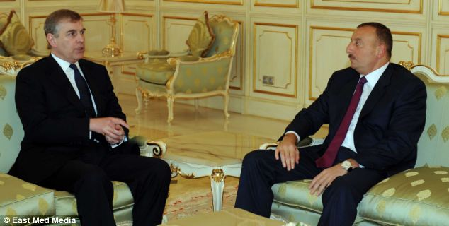 Close friends: Andrew has visited President Ilham Aliyev in Azerbaijan eight times over the past five years