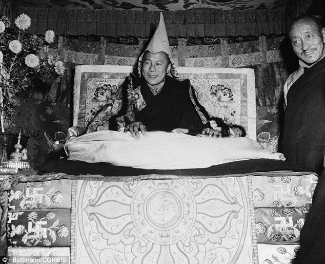 Great responsibility: the Dalai Lama in 1950, when he was asked to take charge of the Tibetan state in the face of a Chinese invasion. He is wearing the crown of the Himalayan kingdom