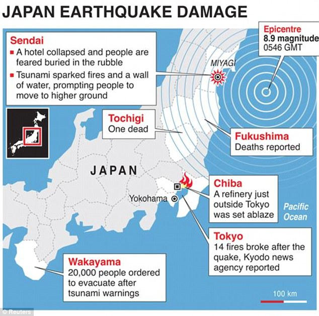 Detailed map locating damage caused by a powerful earthquake which struck off Japan on Friday.