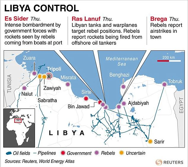 Map showing control of Libyan towns with description of latest incidents