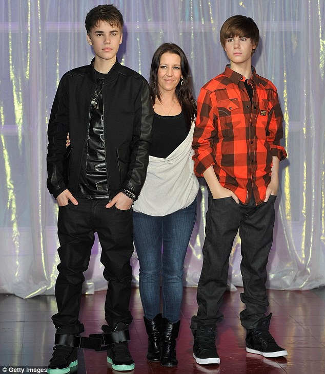 Which one's which? But Bieber's mother Pattie didn't seem to have any trouble differentiating between her son and his waxwork