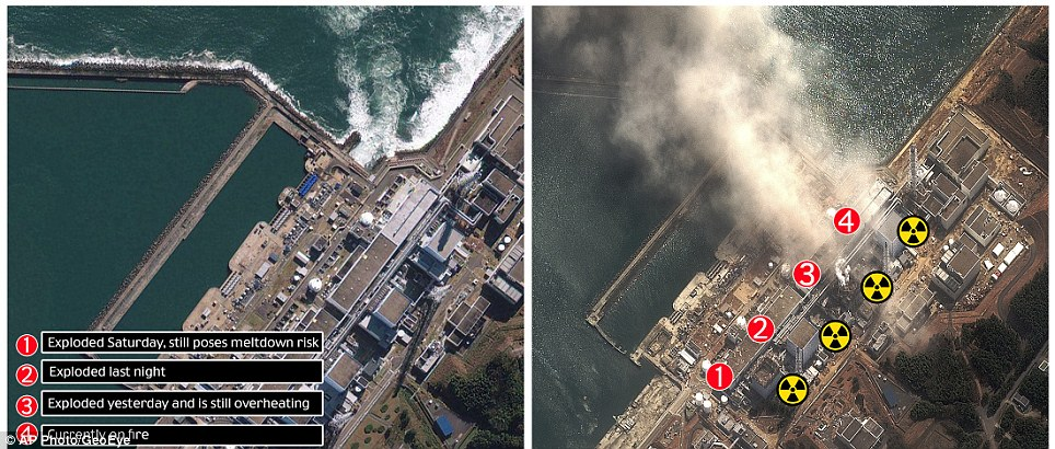 Destroyed: this before and after shot shows the Fukushima nuclear plant before the tsunami, left, and the location of and and damage to the four reactors, right, after the explosions