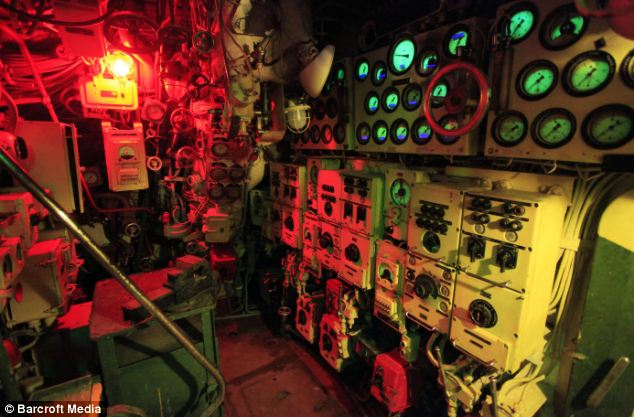 Submarine power: The diesel engine control room. In action the 1,950 tonne submarine had the explosive power of the Hiroshima bomb
