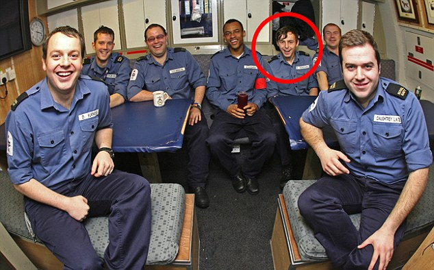 Smiling: This picture was taken on board HMS Astute showing Ryan Donovan, circled, smiling with his fellow crewmates. Less than two days later he launched a gun attack that killed one senior officer and left another injured