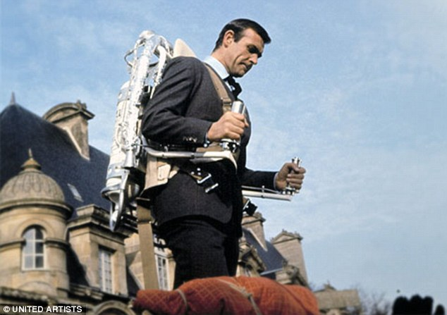 Sean Connery uses a Belt Rocket Belt jetpack in the 1965 James Bond film Thunderball. It could carry a man over 30ft-high obstacles and reached speeds of up to 10mph but had a limited flying time of just 20-30 seconds and huge fuel consumption