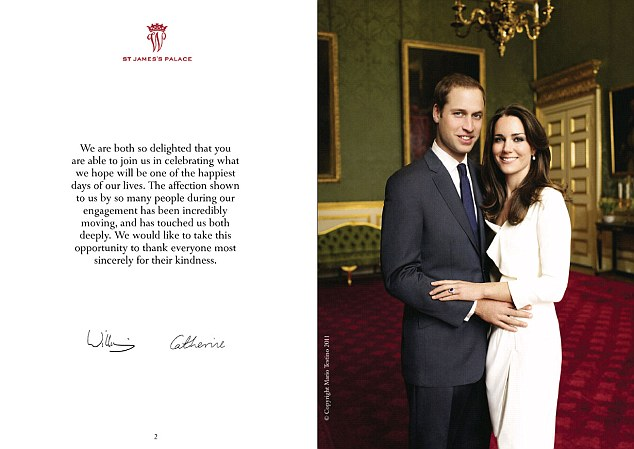 Official programme: William and Kate said in their message at the start of the keepsake that they would like 'to thank everyone most sincerely for their kindness'