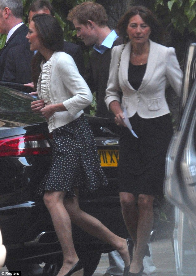 Last practice: Kate Middleton, with her mother Carole and Prince Harry, gets into a Jaguar and leaves Westminster Abbey this morning after a final run through. The next time she will be back there will be for the wedding