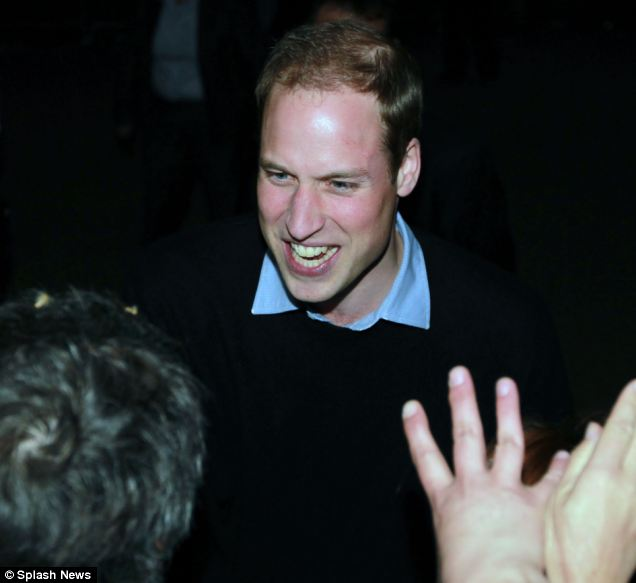 The happy prince: Kate's husband-to-be clearly enjoyed chatting with his fans