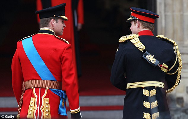 Waiting time: Prince William and his brother Harry walk into the Abbey to wait for the commoner bride Kate Middleton to arrive