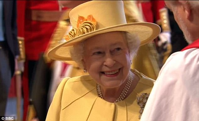 The nation's grandmother: The Queen arrives at Westminster Abbey for the Royal Wedding