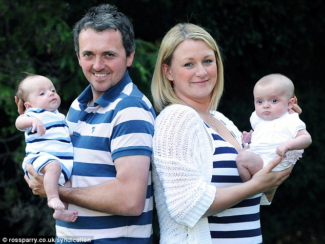 Stacy and James Bodle endured years of heartbreak as they tried to start a family but an undetected medical condition caused Stacy to repeatedly miscarry after falling pregnant with Harry, left, and Libby