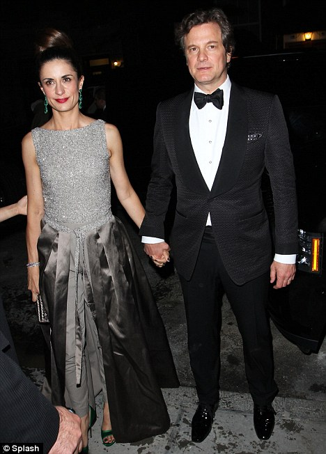 Mr and Mrs Gorgeous: Livia arrives at the party with her Oscar-winning husband Colin Firth