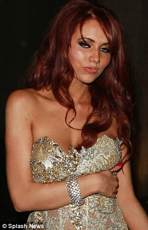 Worse for wear: Despite not going out to a club after the BAFTA Awards, Amy Childs still looked worse for wear when leaving the Grosvener Hotel in London