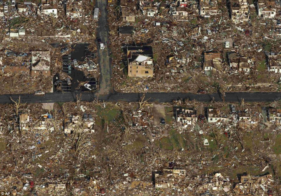 Powerful: Aerial pictures reveal the devastation caused by the tornado in Joplin, Missouri