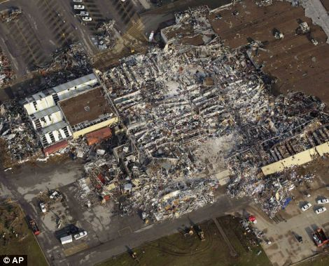 Blown away: The superstore is barely recognisable in the aerial photo from after the storm
