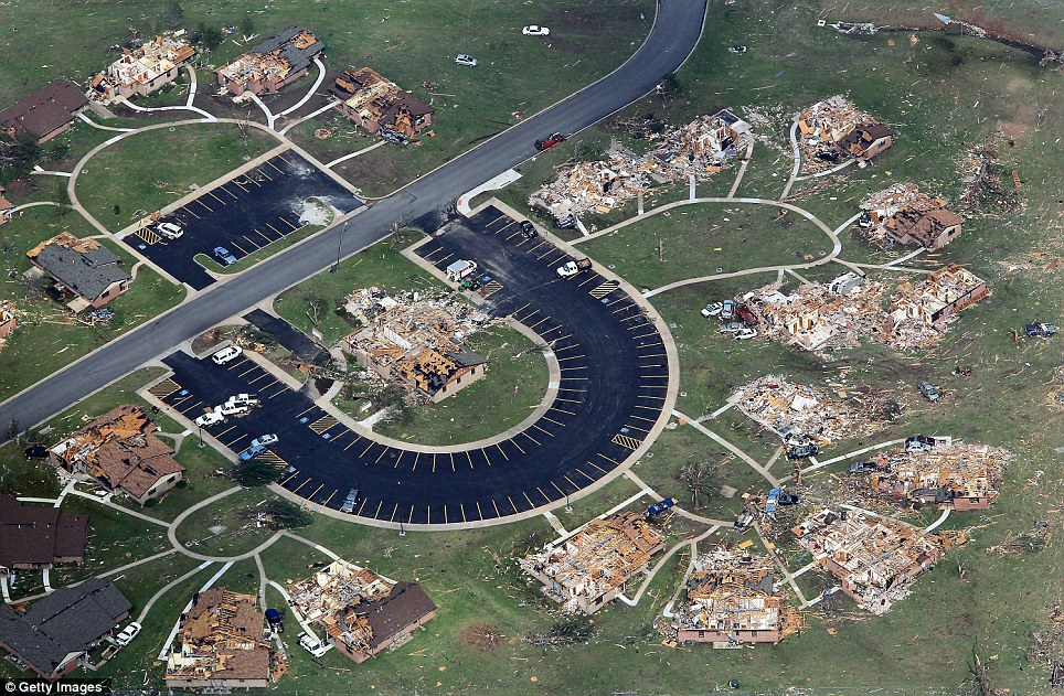 Decimation: Residential buildings are shown flattened in this aerial shot over Joplin